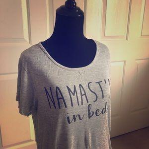 """""""Namast'ay in bed"""" t-shirt"""